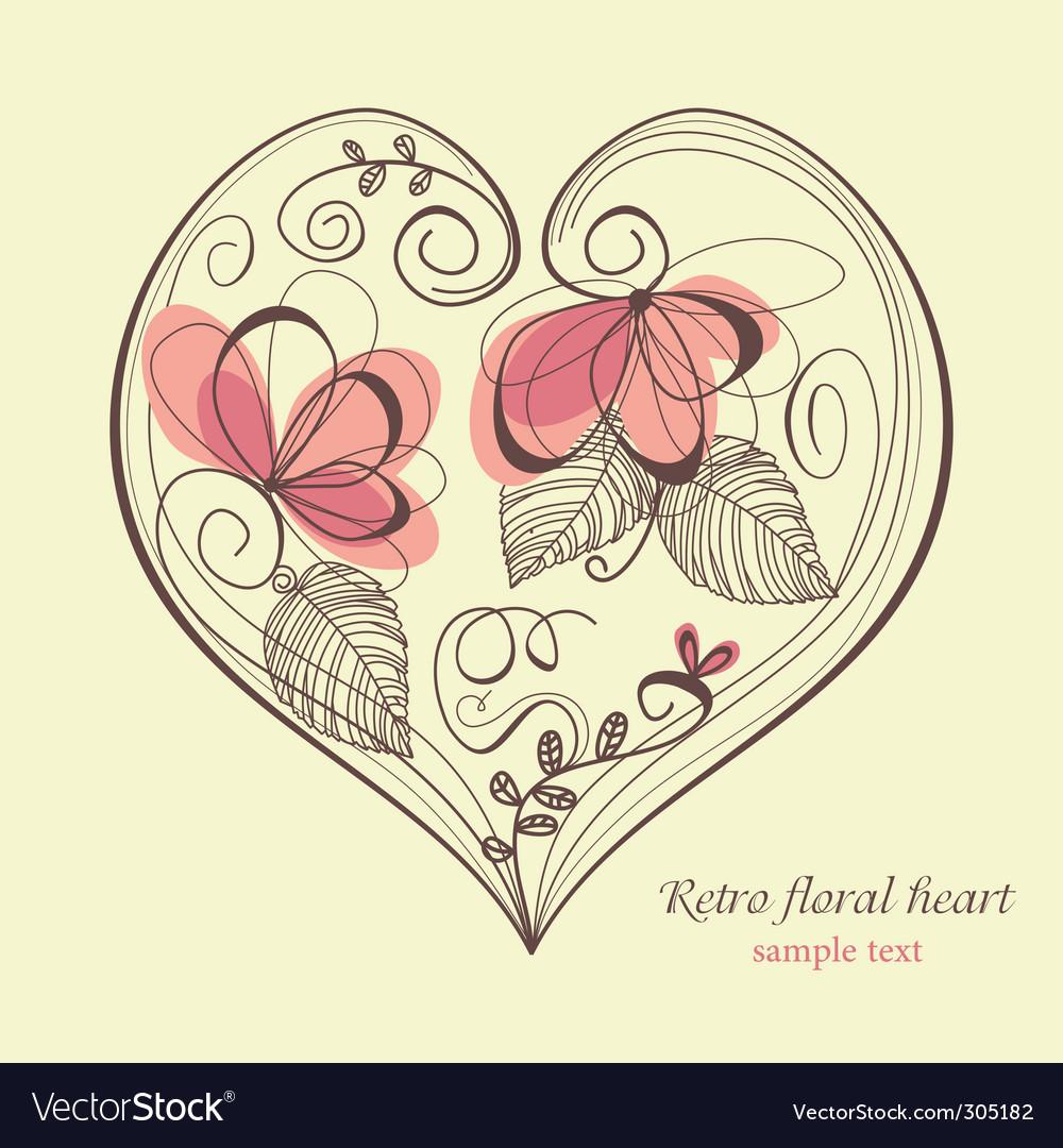 Retro floral heart vector image