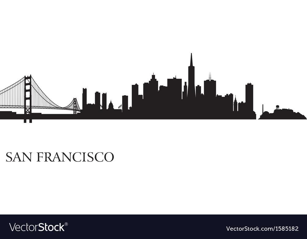 san francisco city skyline silhouette background vector image rh vectorstock com san francisco skyline vector art san francisco skyline outline vector