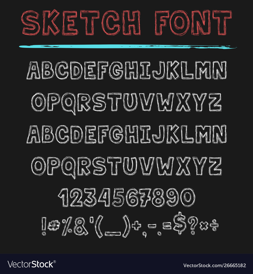 Sketch font decorative latin alphabet type set vector