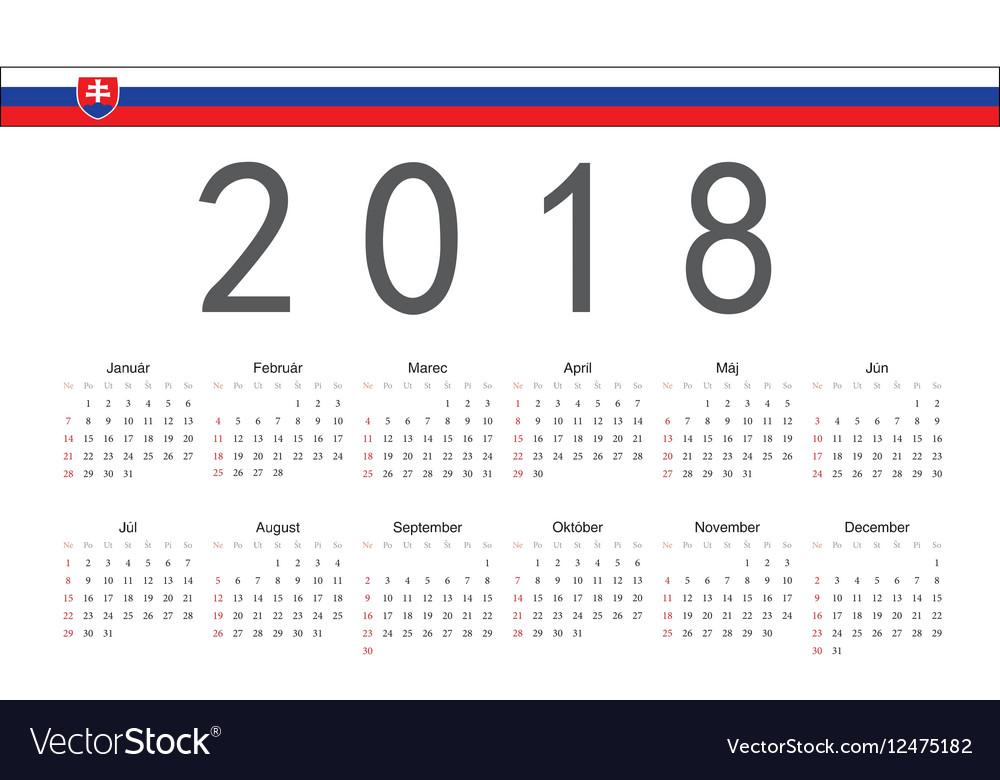 Slovak 2018 year calendar vector image