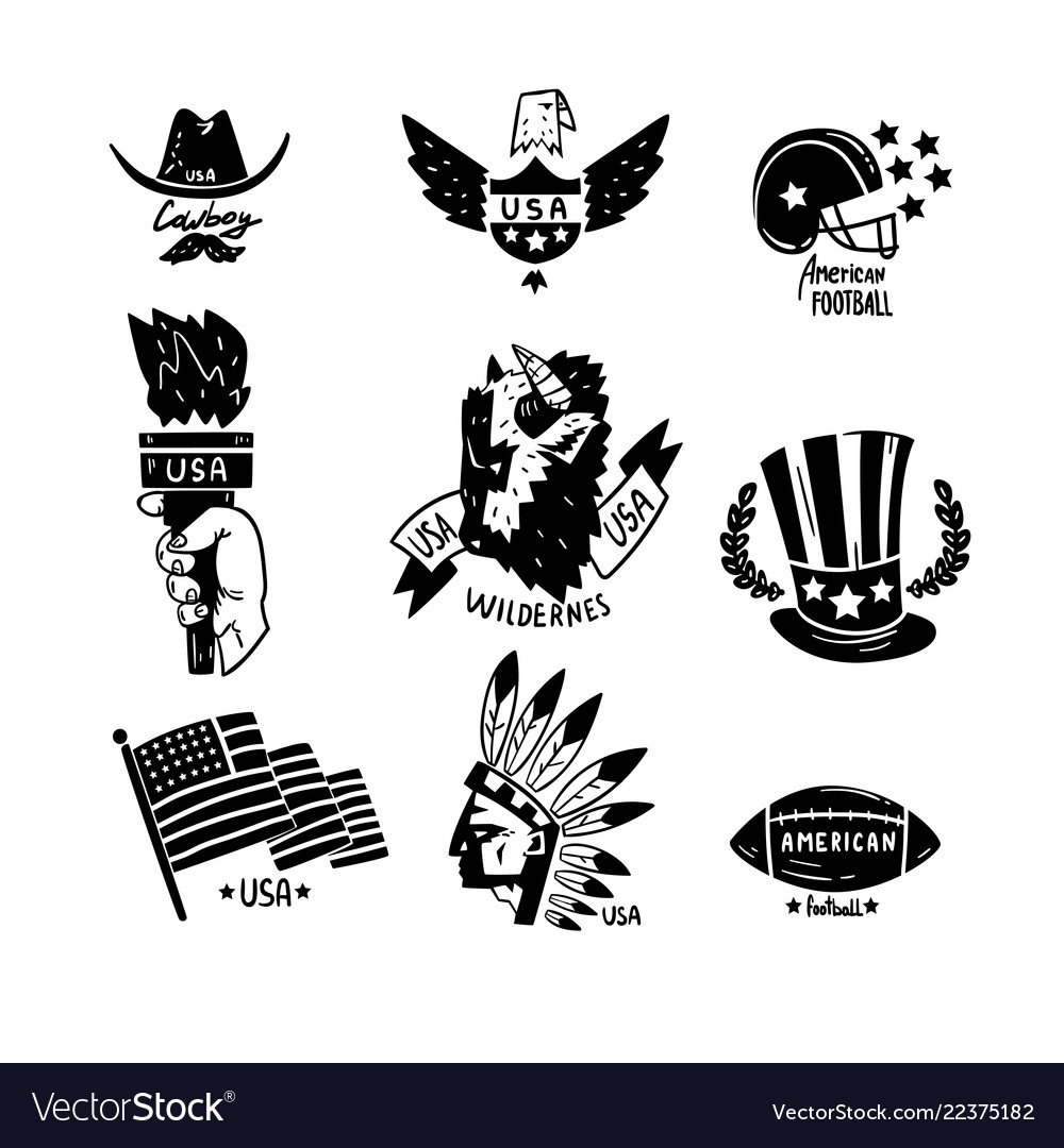 Symbols usa set american independence day