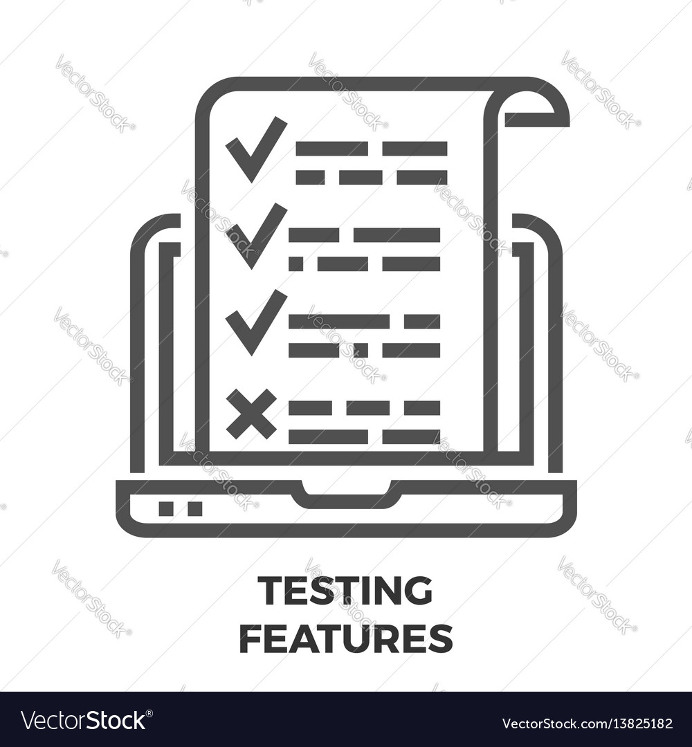 Testing features line icon vector image