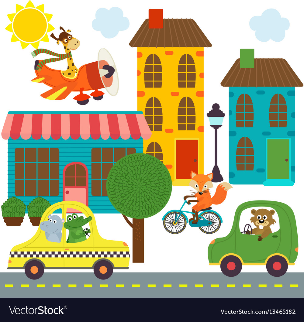 Transport with animals in city vector image