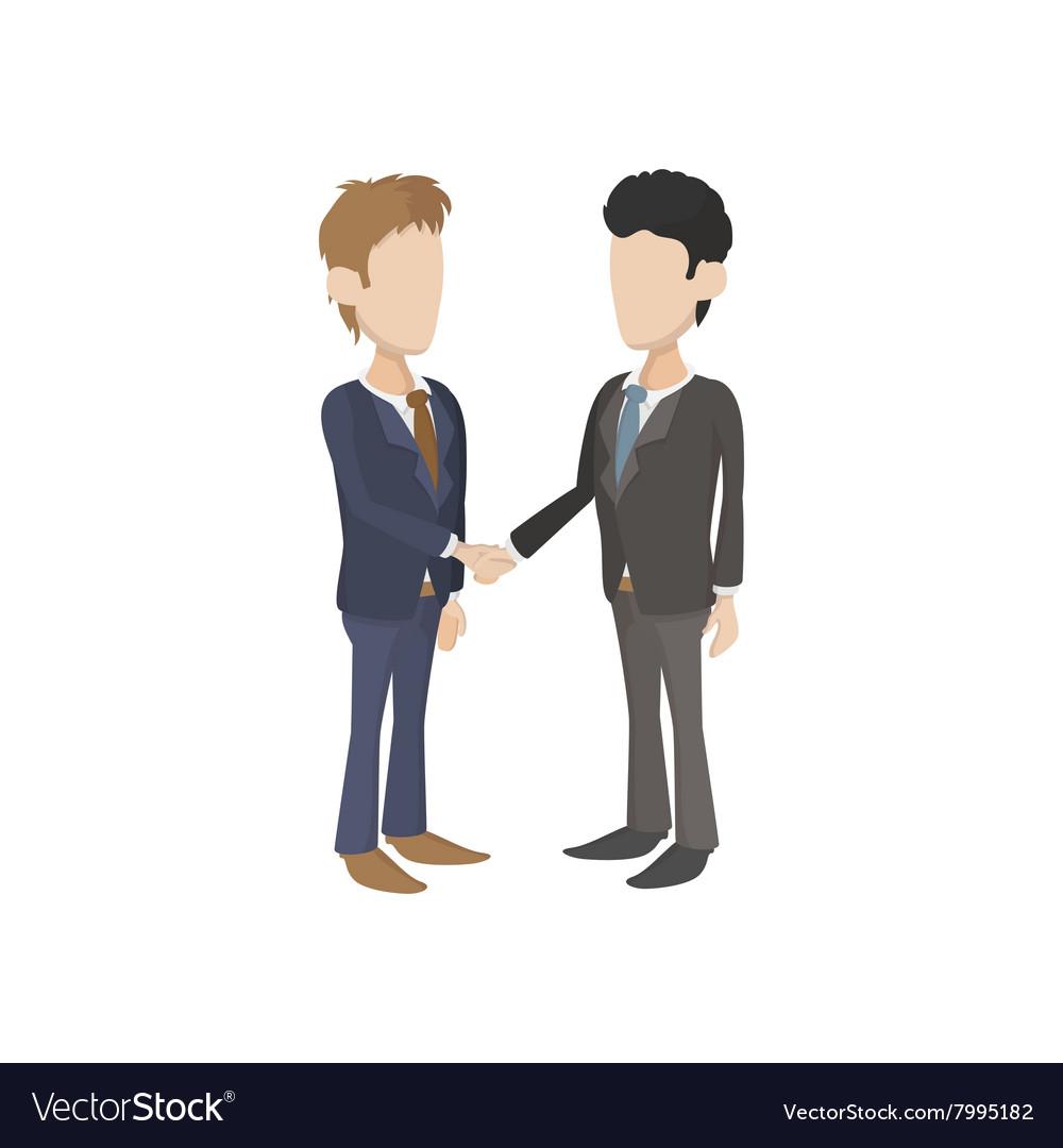 two businessmen shaking hands icon cartoon style vector image rh vectorstock com cartoon characters shaking hands cartoon images shaking hands