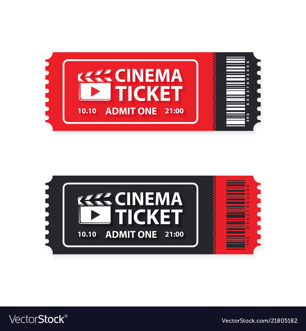 Two cinema tickets on white