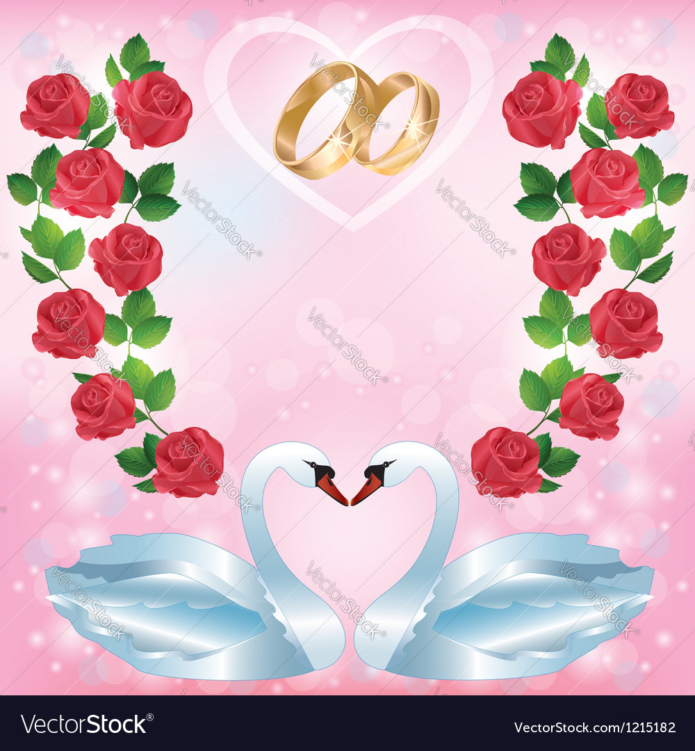 Wedding Greeting Or Invitation Card With Two Swans