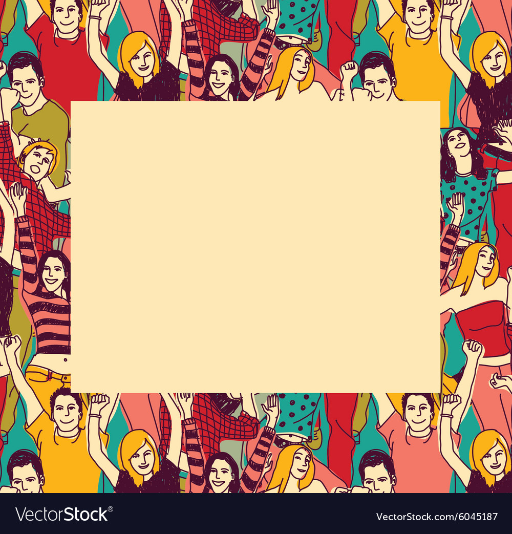 Border With Happy Young People Frame Color Vector Image