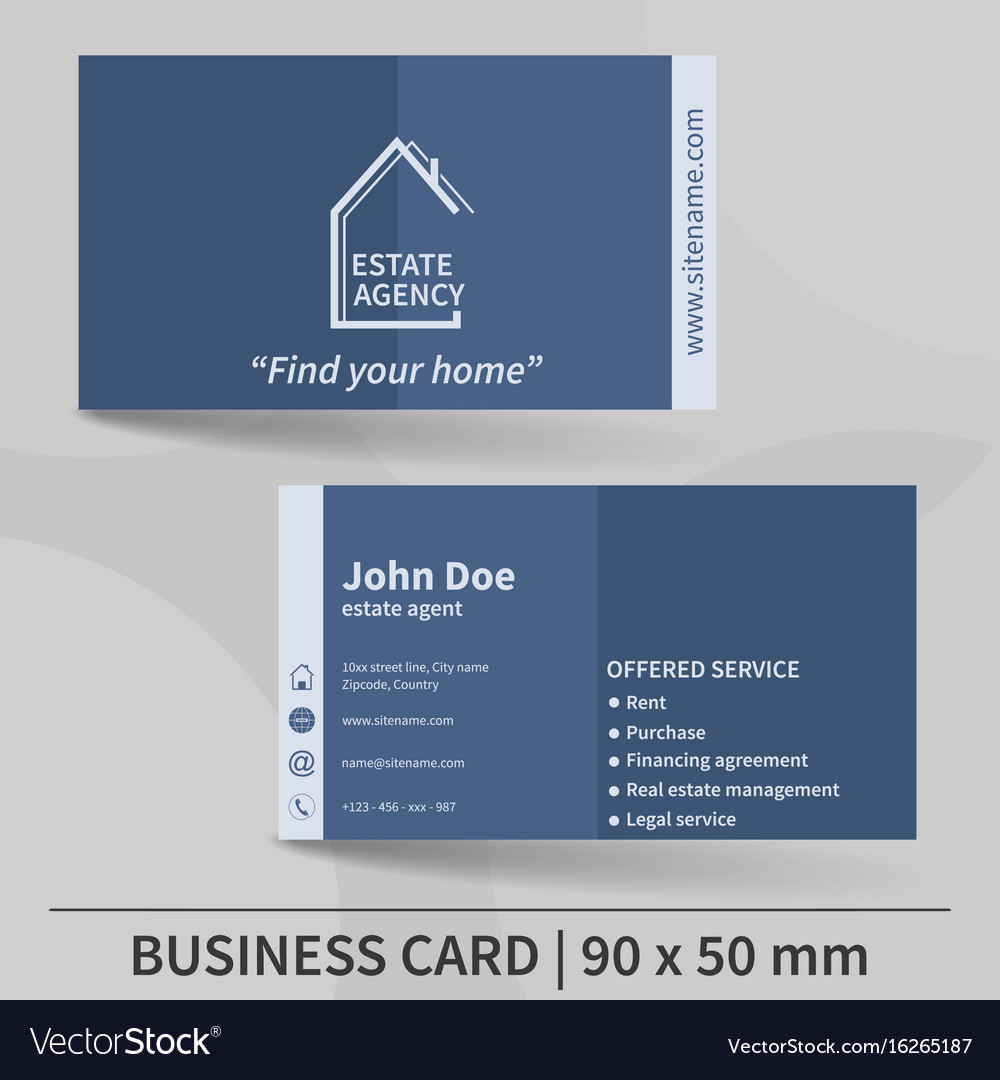 Business card template real estate agency design vector image friedricerecipe Choice Image