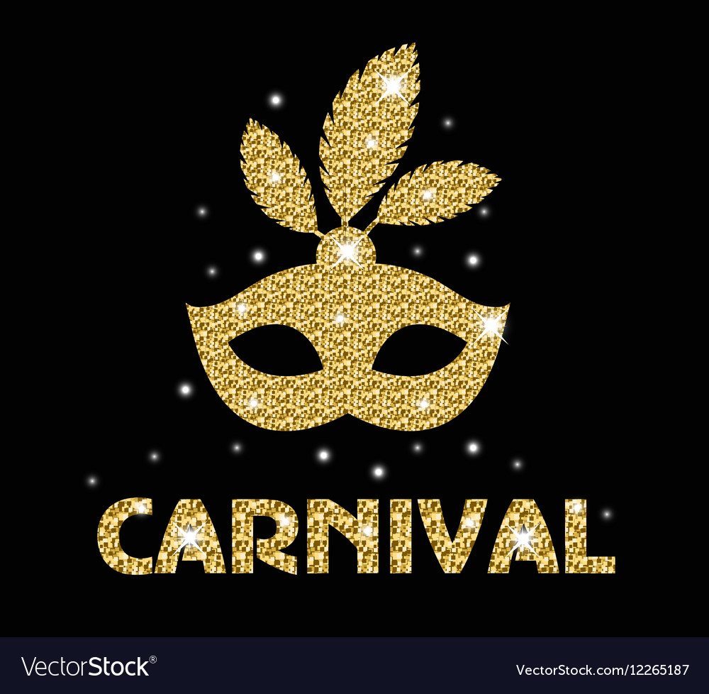 Carnival golden glitter mask poster flyer