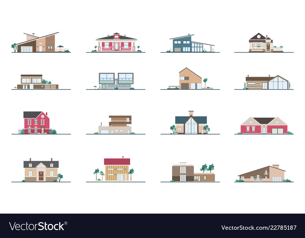 Collection facades different residential