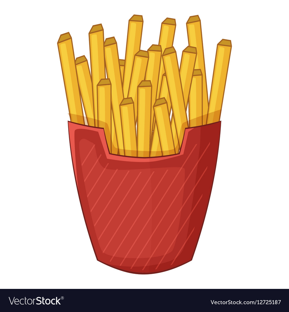 French fries icon cartoon style