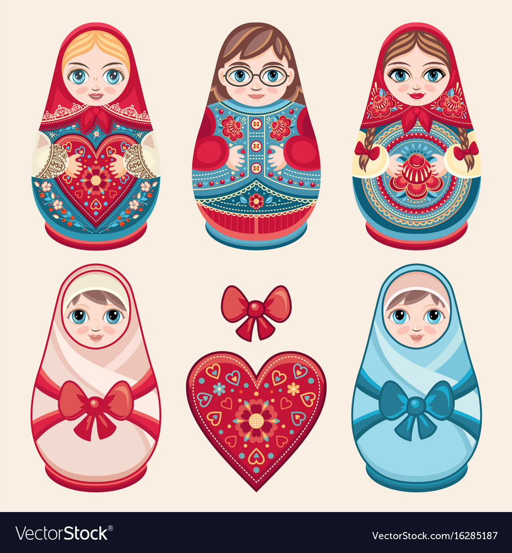 Matryoshka babushka doll set