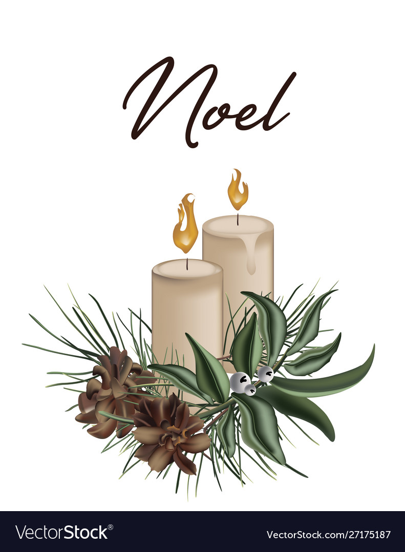 Merry christmas 3d greeting card with candles