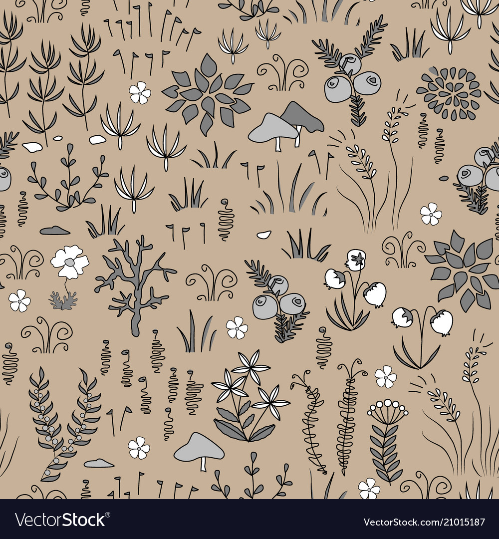 Modern floral seamless pattern with northern