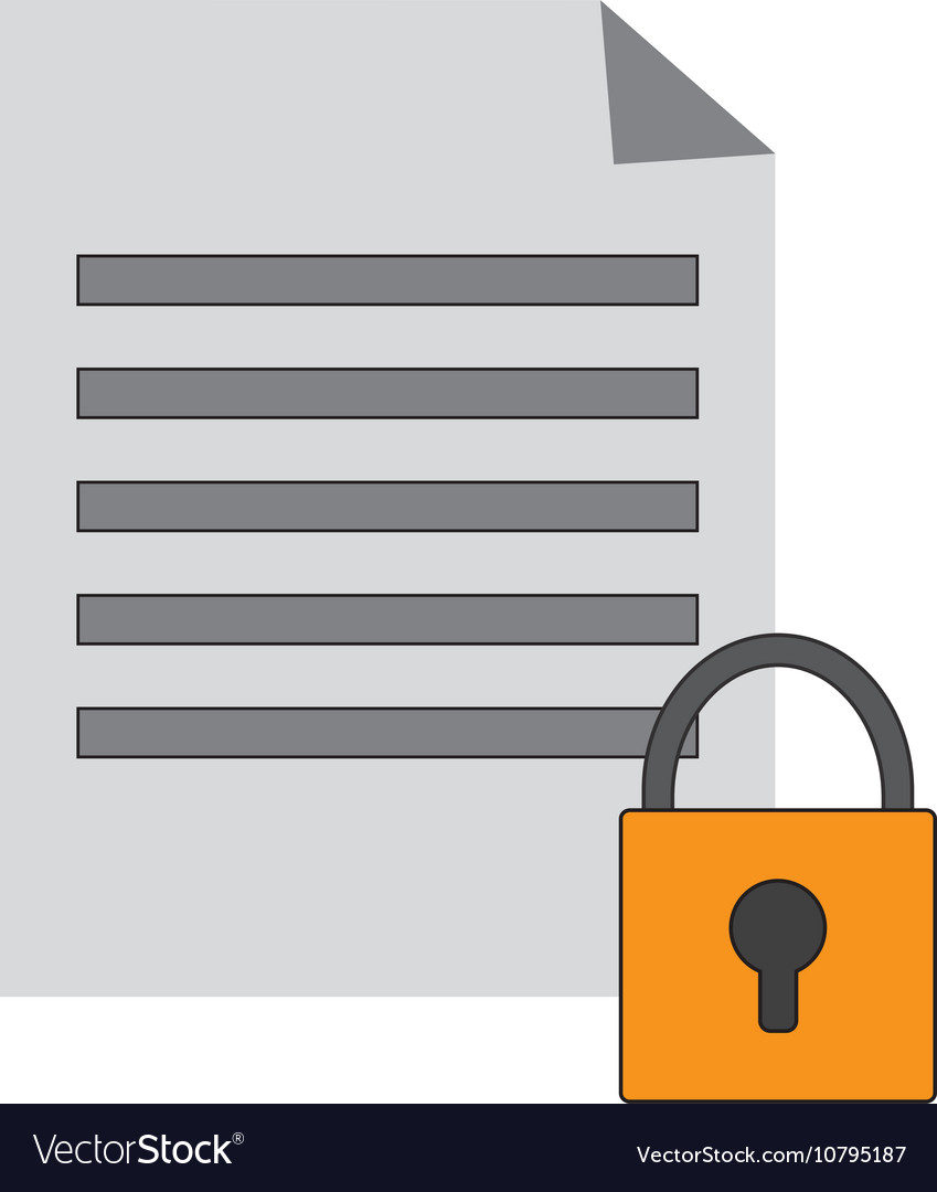 Paper Document And Safety Lock Icon Royalty Free Vector