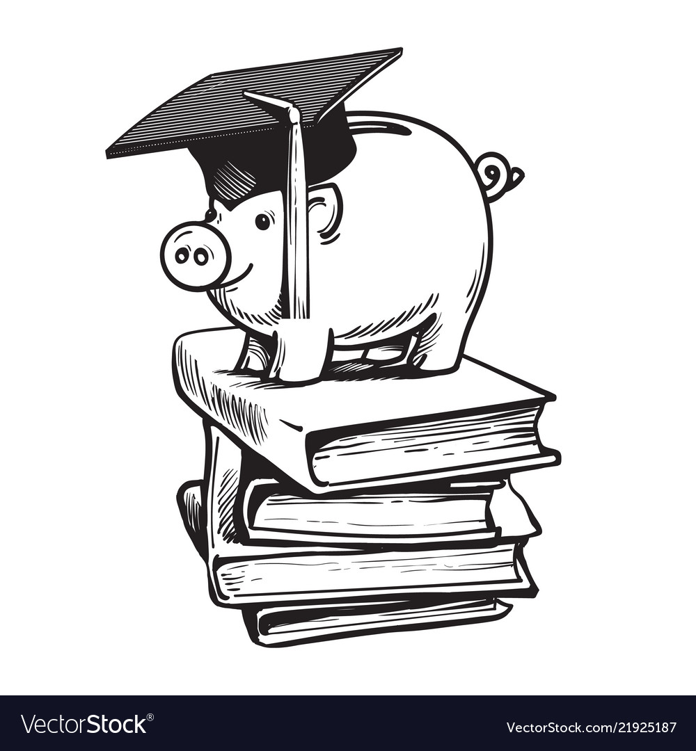 Piggy bank in graduation hat on stack of books