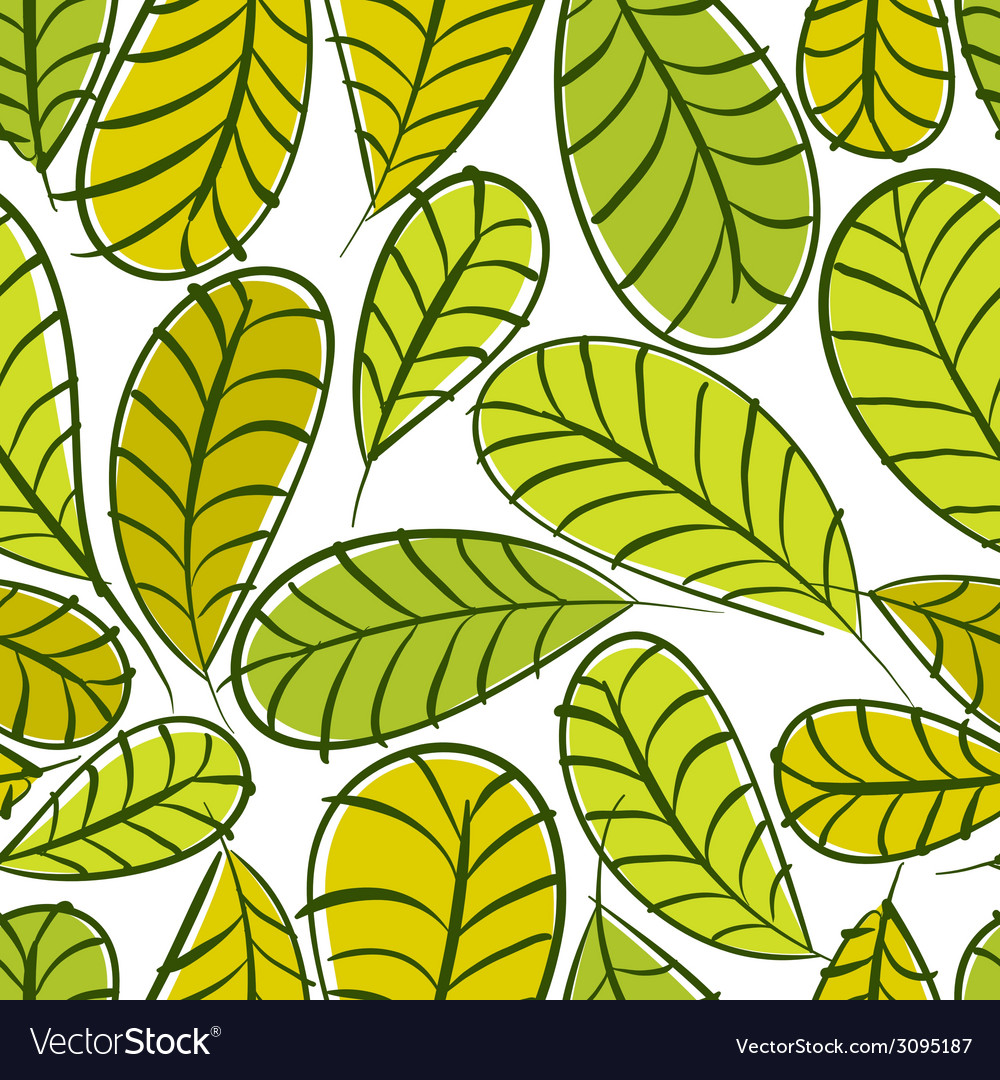 Seamless floral pattern green leaves seamless