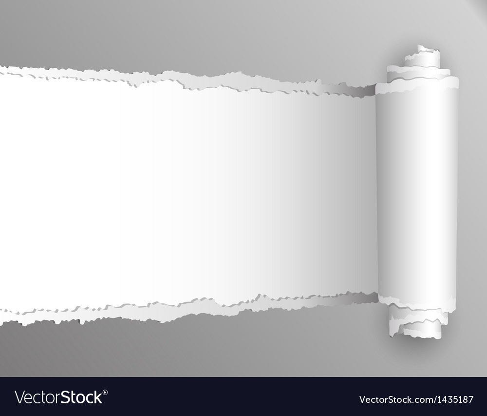 Torn paper with opening showing white background vector image