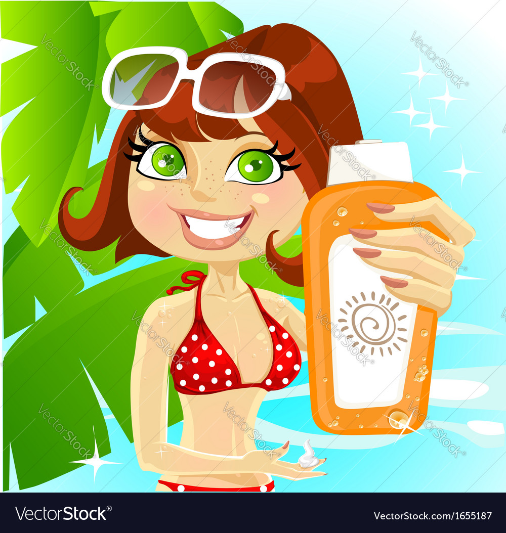 Woman presents cream for sunburn