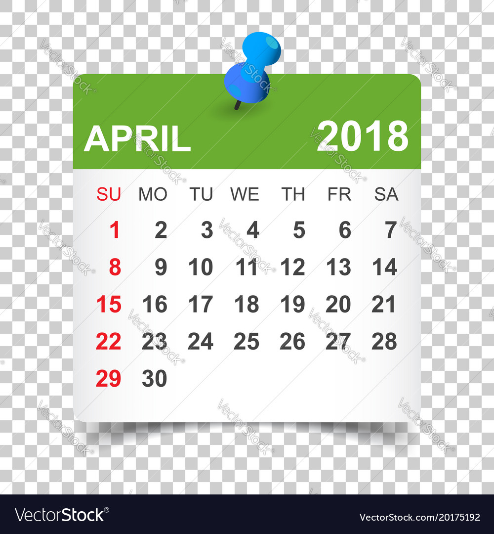 April 2018 calendar calendar sticker design vector image