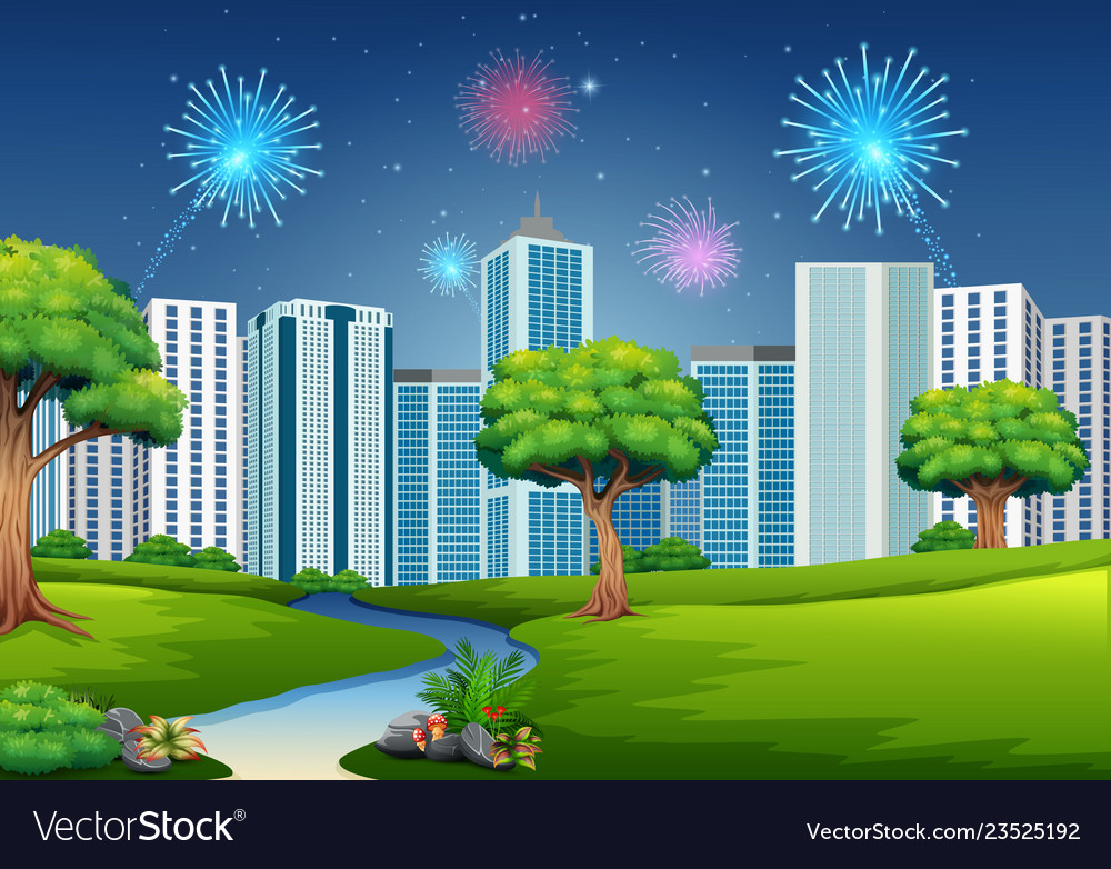 Beautiful garden with cityscape building and firew