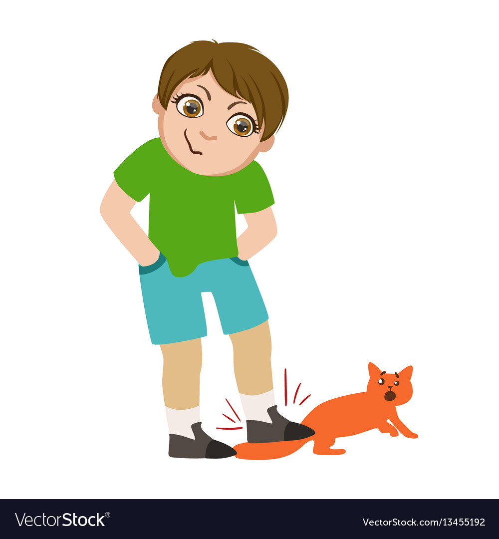 Boy stepping on cats tail part of bad kids