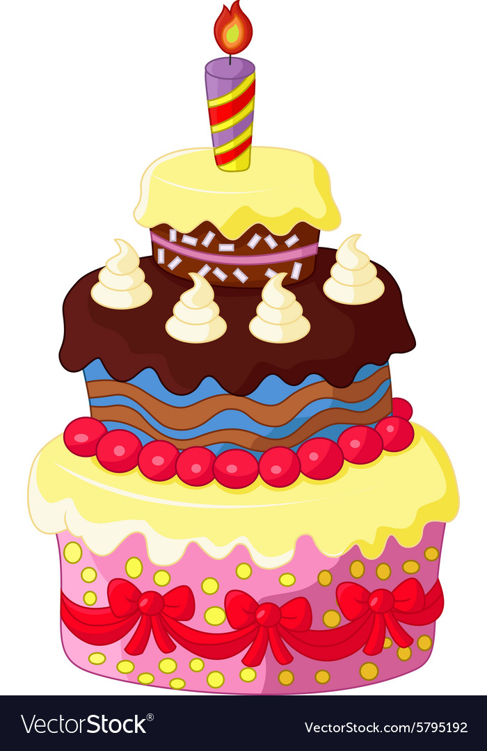 Marvelous Cartoon Birthday Cake Royalty Free Vector Image Personalised Birthday Cards Veneteletsinfo
