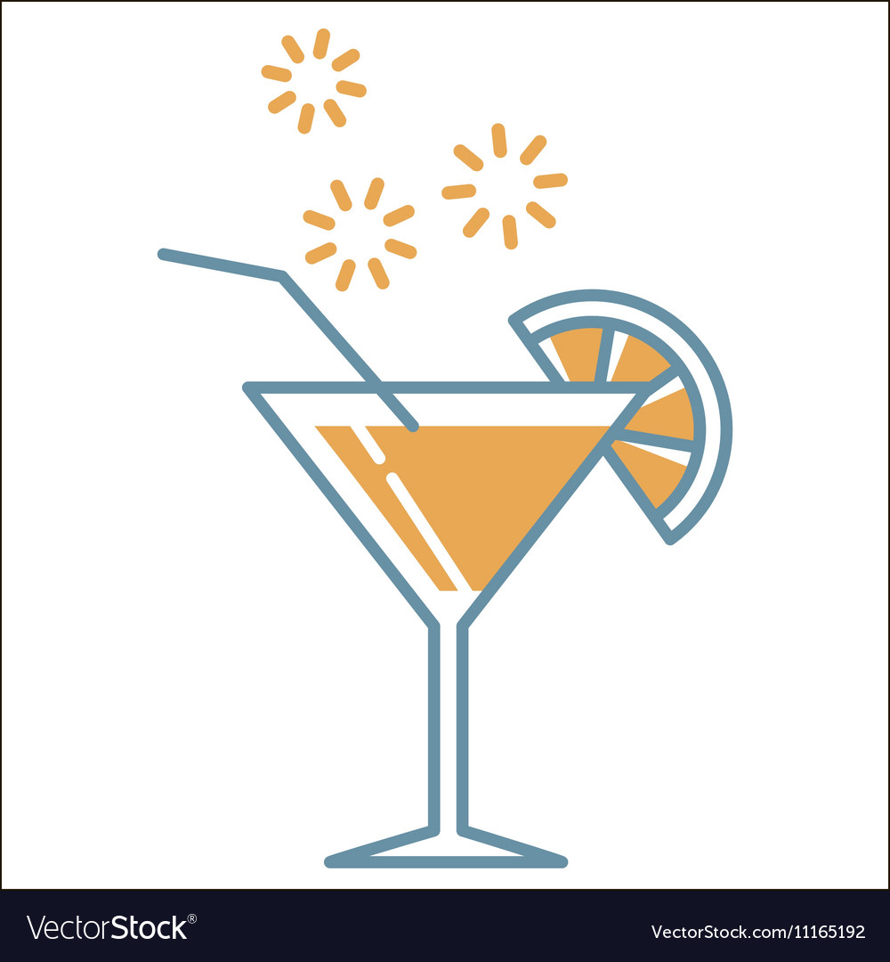 Cocktail icons collection vector image
