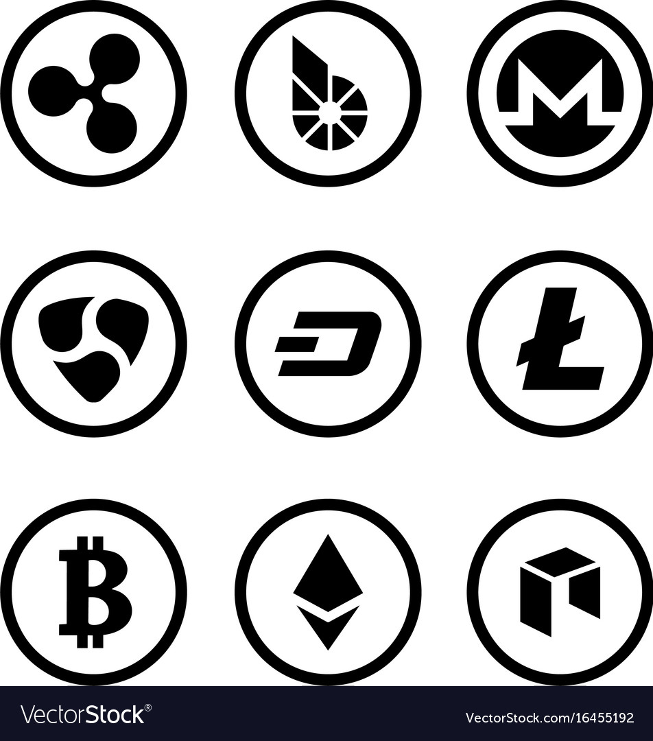 Cryptocurrency or virtual currencies black icon vector image