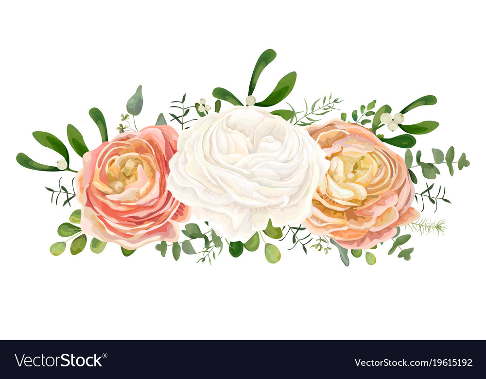 Floral Bouquet With White Peach Ranunculus Flowers