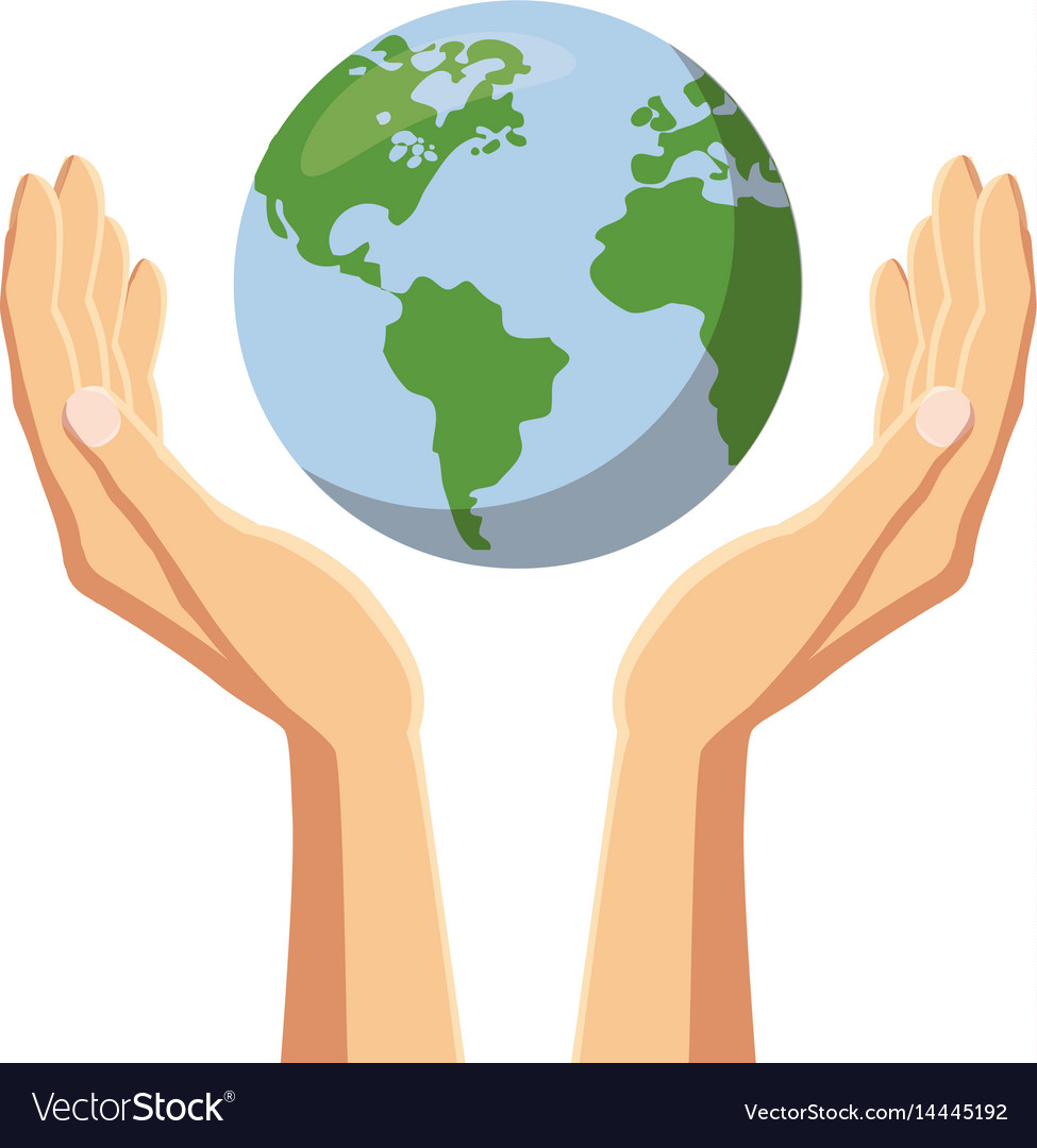 hands holding globe earth icon cartoon style vector image rh vectorstock com hand holding heart drawing hand holding heart drawing