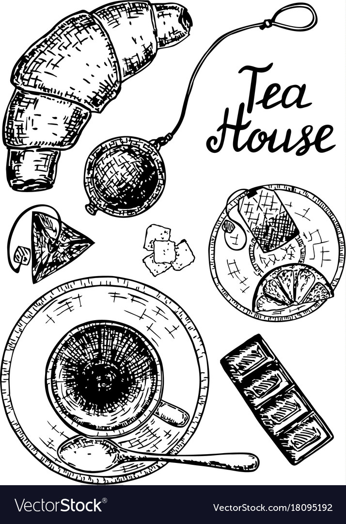 Ink hand drawn style tea house set