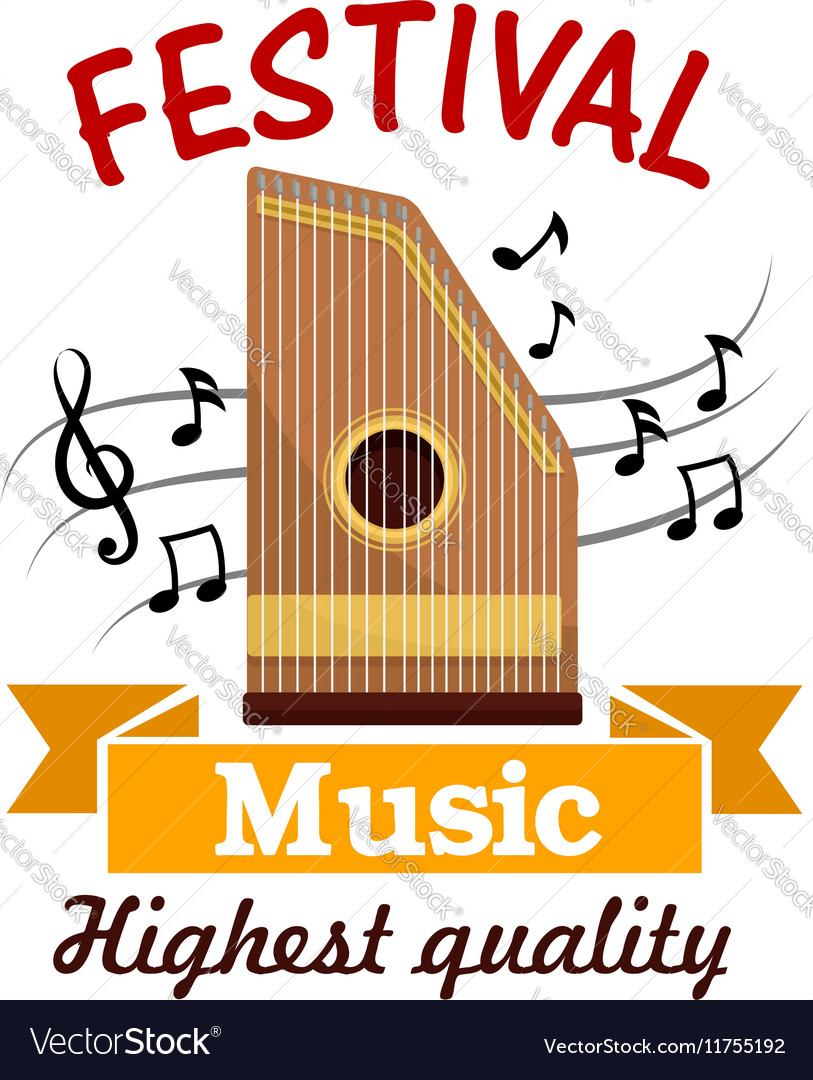 Music sign of folk musical instrument with notes