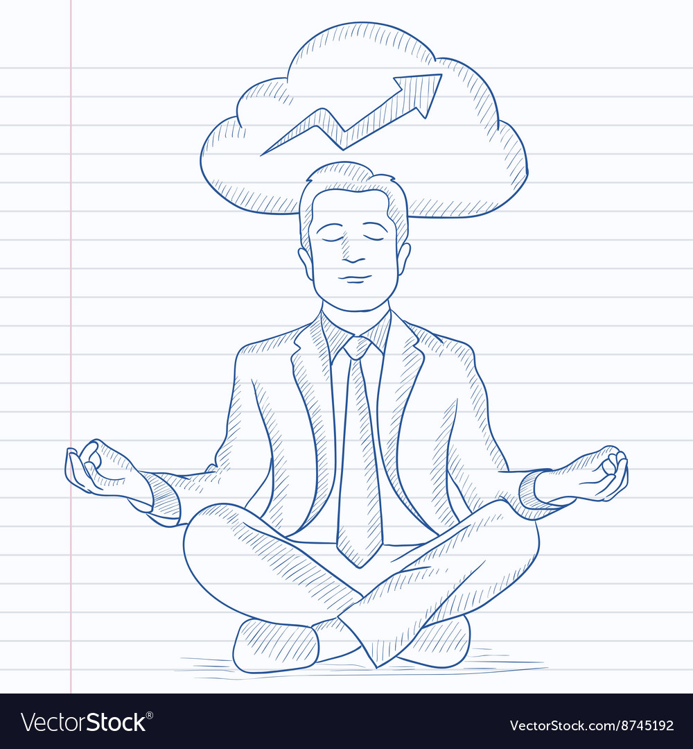 Peaceful businessman meditating