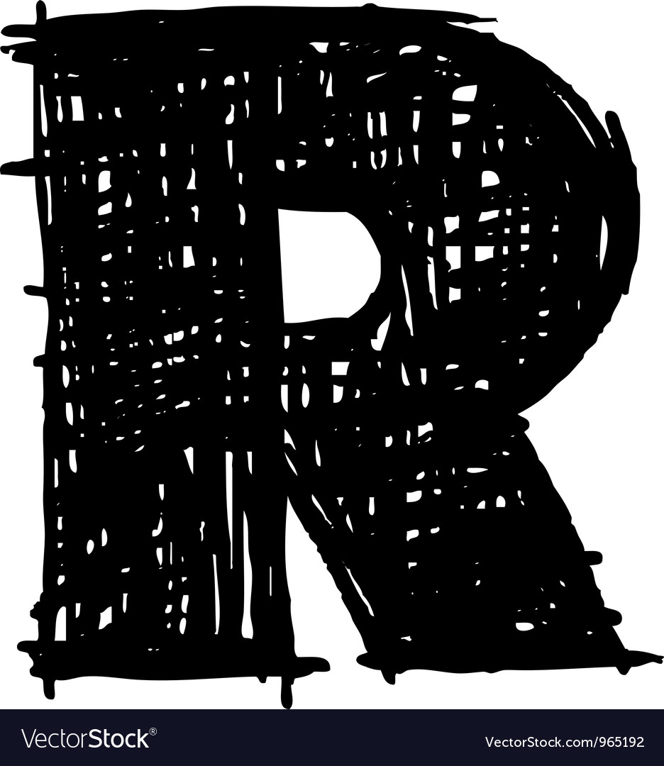 R - hand drawn character sketch font vector image
