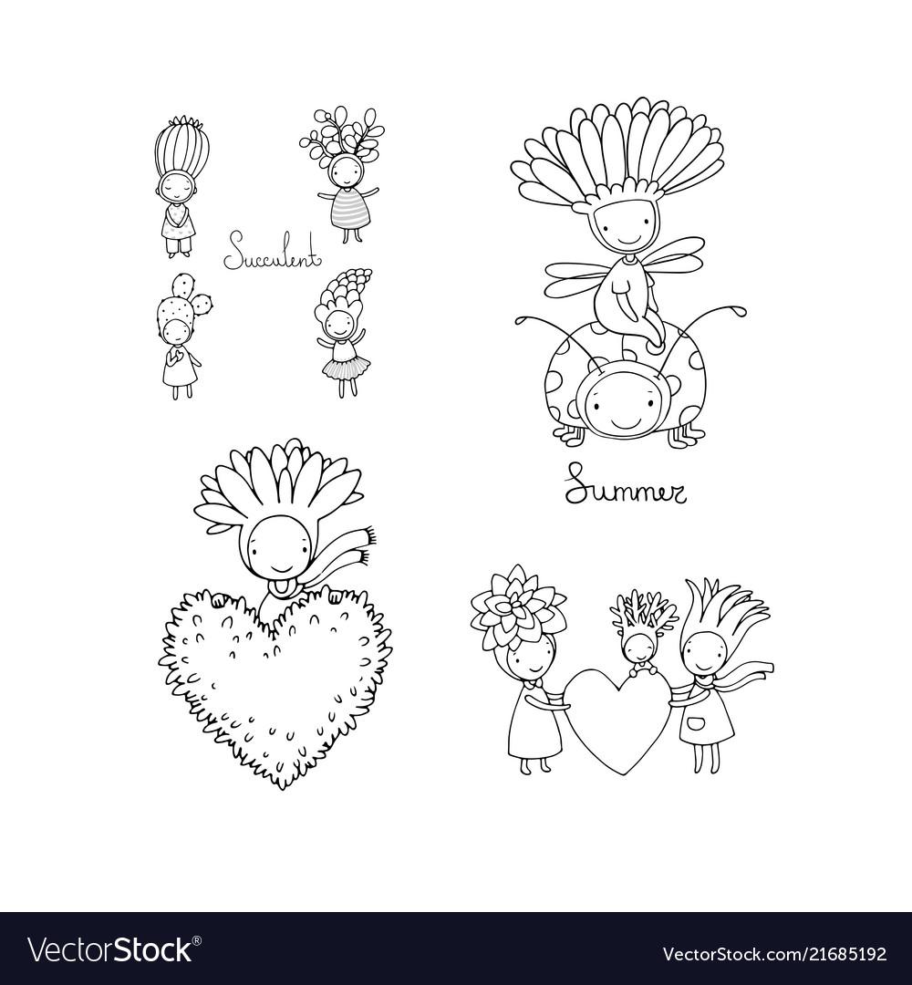 Set with cute cartoon succulents cactus and aloe