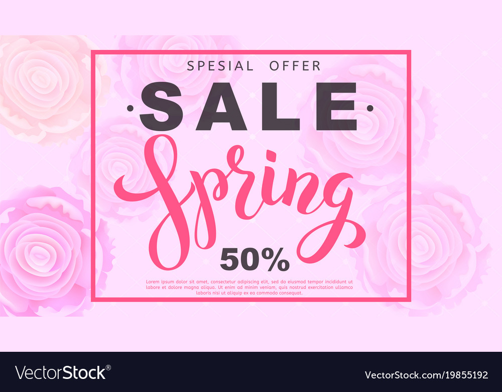 Spring sale banner with rose flowers