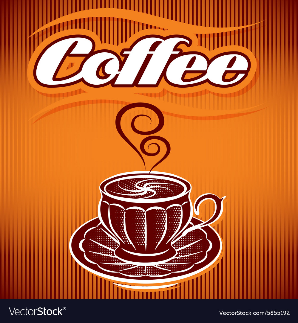 Stylized cup coffee on an abstract background