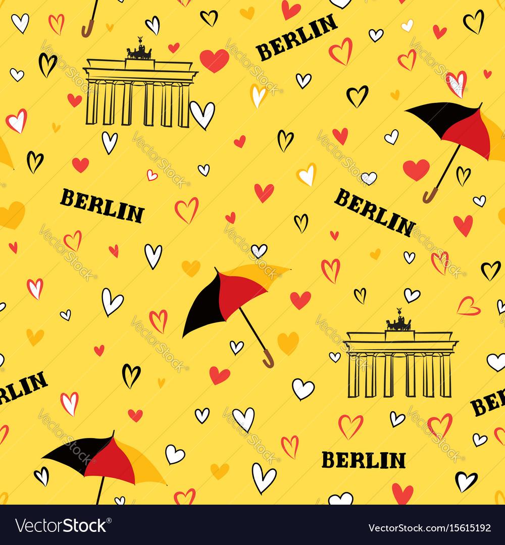 Travel berlin city seamless pattern german