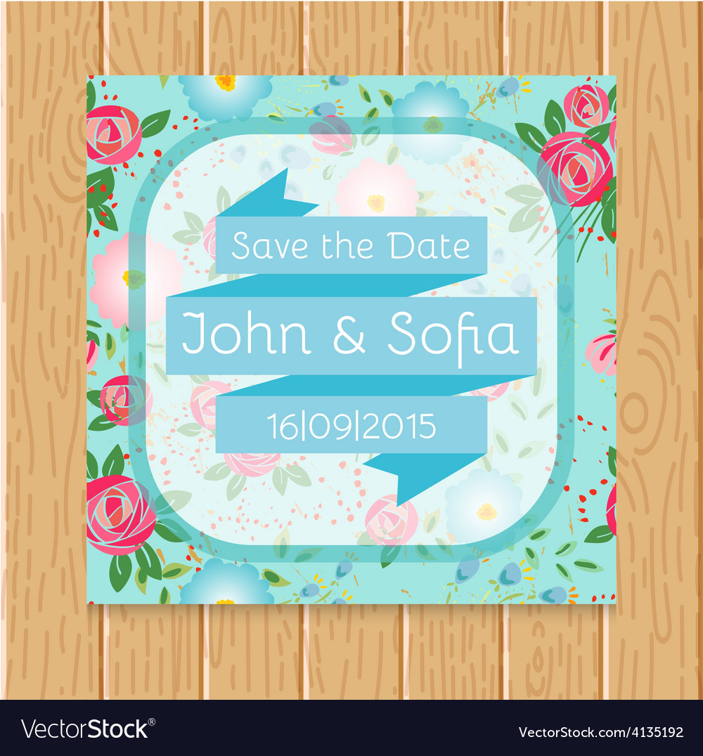 Vintage floral wedding invitation square shape vector image stopboris Image collections