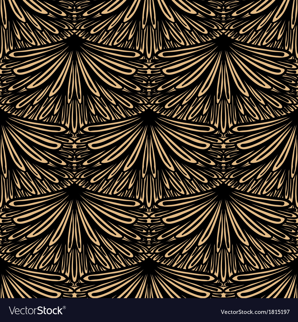 Art deco floral pattern Royalty Free Vector Image