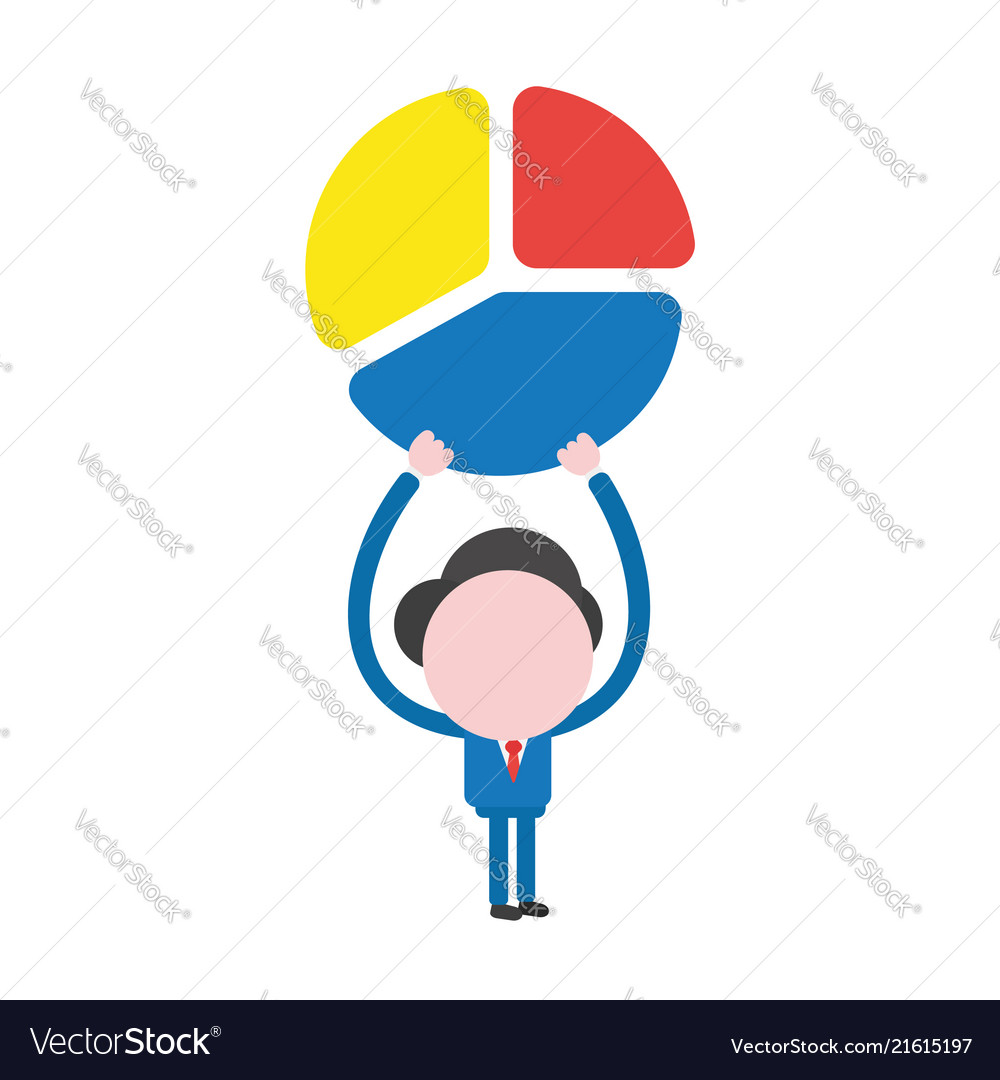 Businessman character holding up three parts