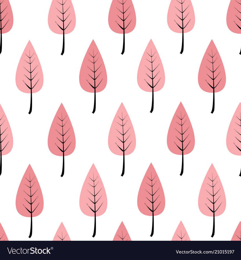 Cartoon pink trees in a row seamless pattern