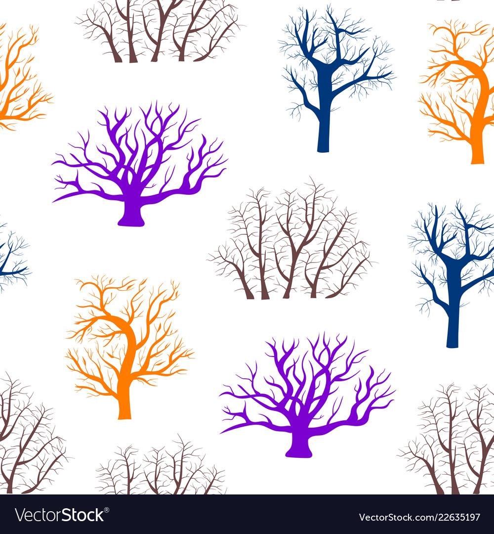 Cartoon silhouette tree seamless pattern