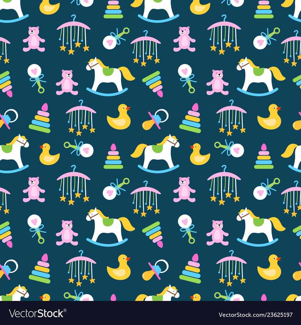 Cute babies toys seamless pattern design