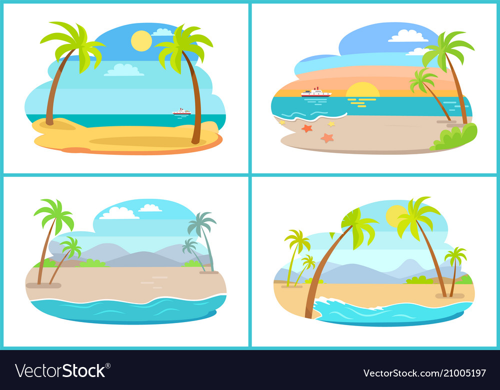 Empty tropical sandy beaches with tall palms set