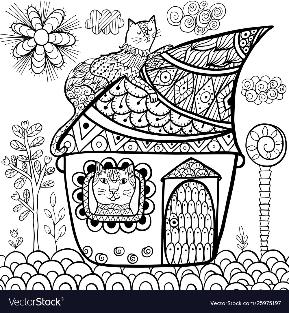 Fantasy cat house coloring page