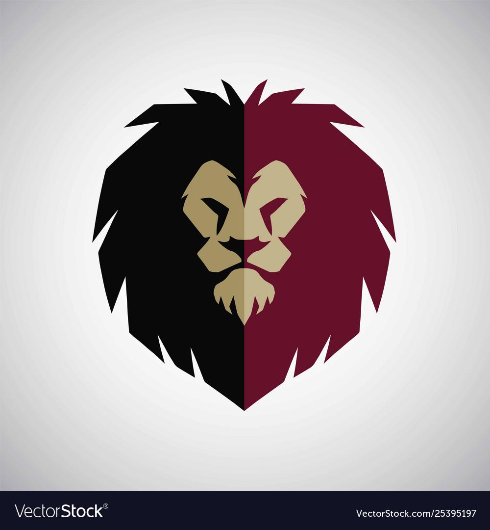 Lion head mascot logo flat design