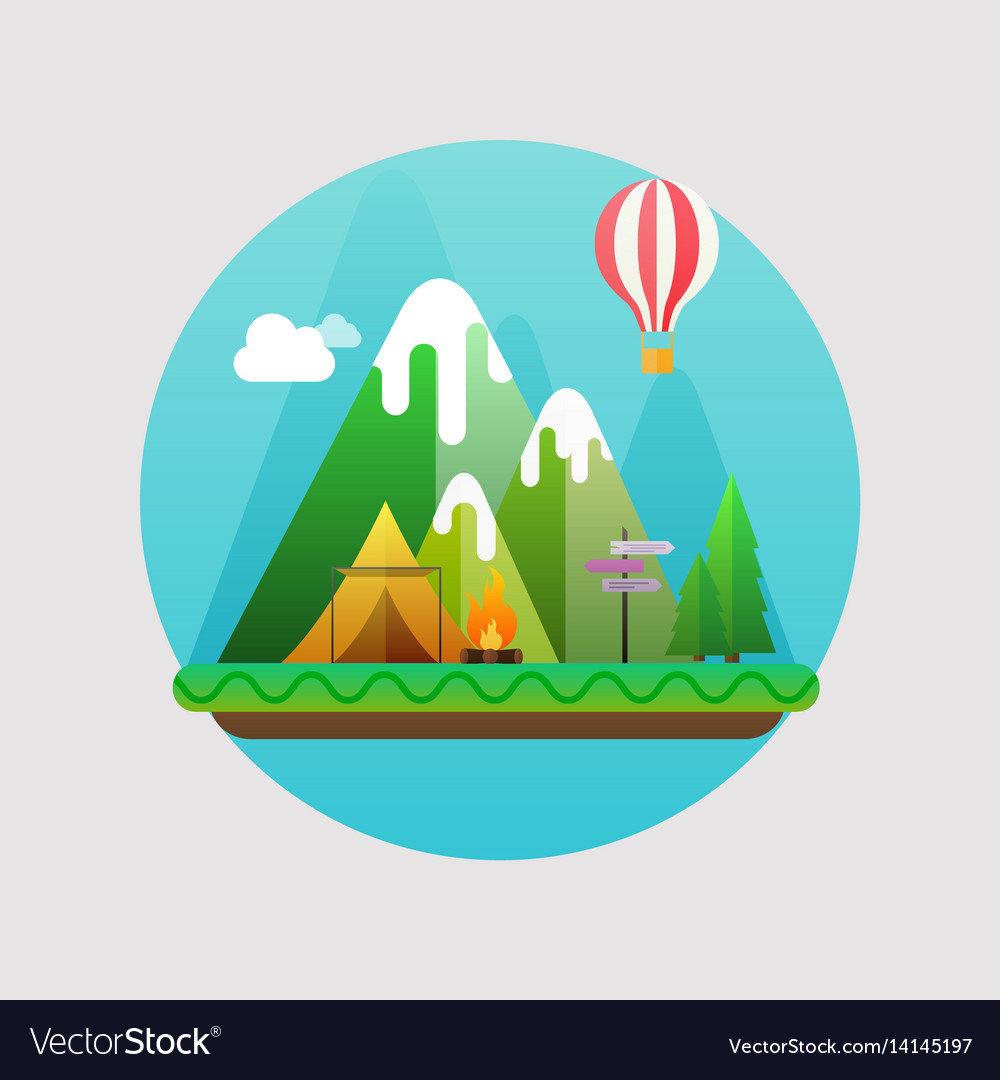 Mountains summer landscape concept with flat