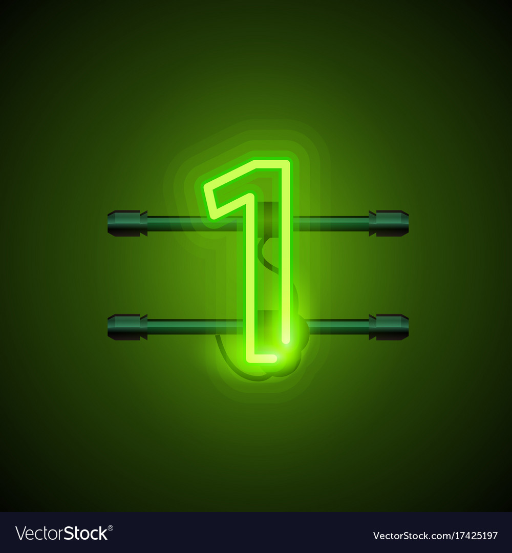 Neon city font sign number 1 signboard one